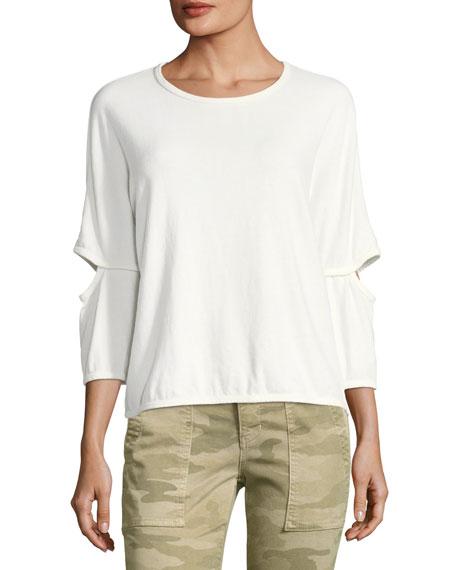 The Easy Cutout Crewneck Cotton Top