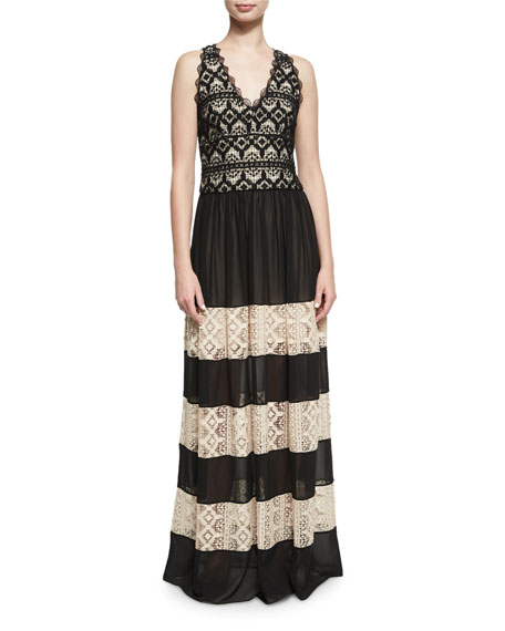 Alice + Olivia Tilly Lace Insert Maxi Dress,