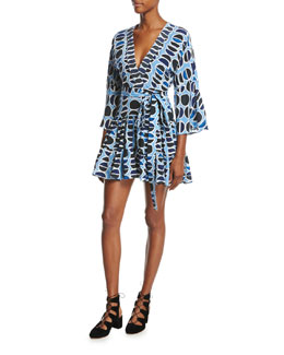 Julienne Printed Mini Dress, Blue Pattern