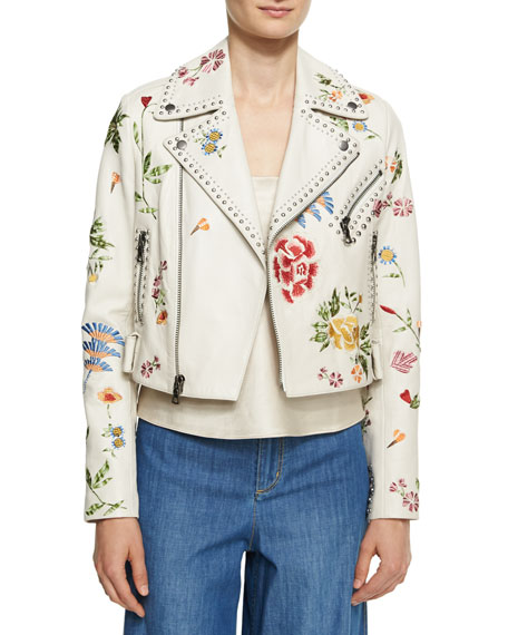 Cody Embroidered Studded Leather Jacket, Off White Multi