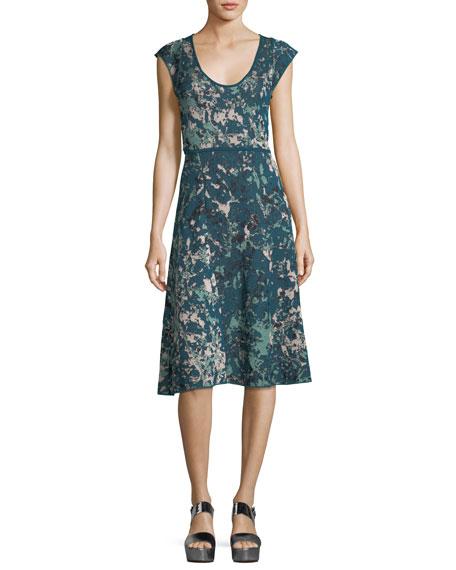 Scoop-Neck Floral Jacquard Cap-Sleeve Dress