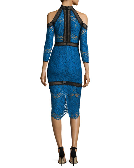 Marlowe Cold-Shoulder Lace Midi Dress, Blue