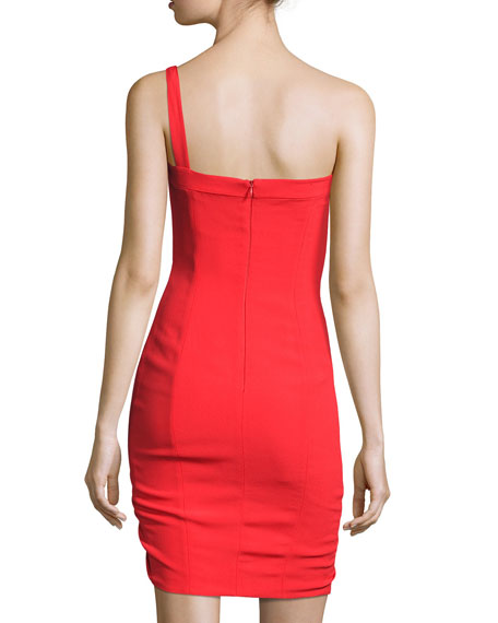 Staz Crepe One-Shoulder Fitted Cocktail Dress, Red