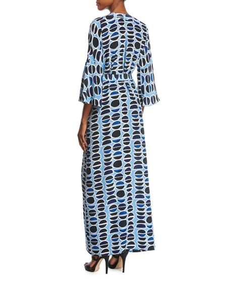 Millan Silk Maxi Dress, Blue Pattern