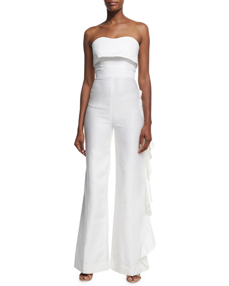 Alexis Jara Strapless Overlay Jumpsuit, White