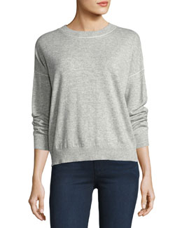 Criselle Drop-Shoulder Crewneck Sweater, Gray