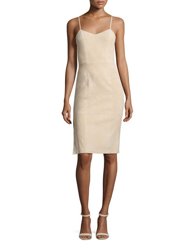 Rochelle Suede Fitted Midi Dress, Champagne