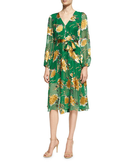 Alice + Olivia Coco Plunging V-Neck Midi Dress,