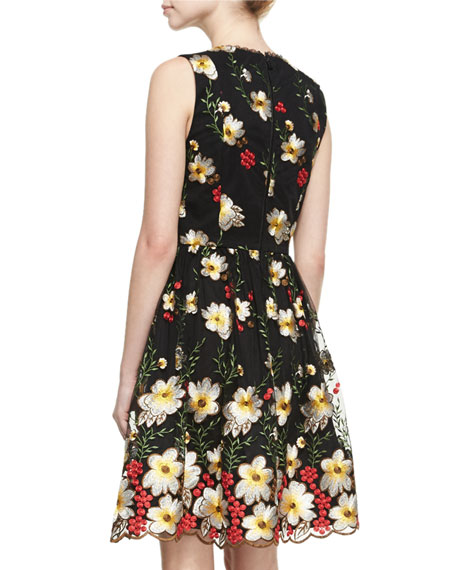 Becca V-Neck Midi Pouf Dress, Black Multi
