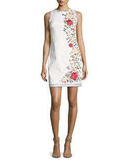 Nat Embroidered Border Studded Mini Dress, White Multi