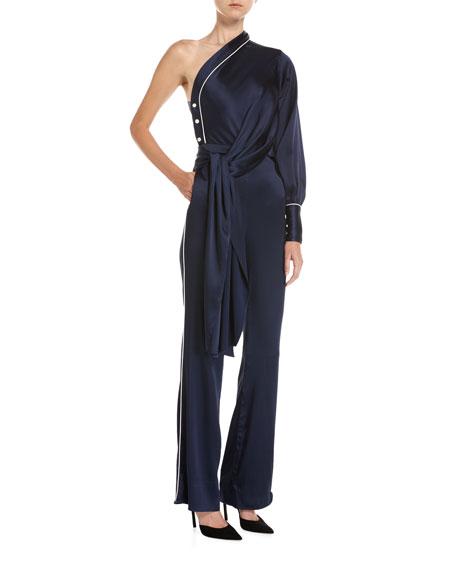 One-Shoulder Sateen Jumpsuit, Blue