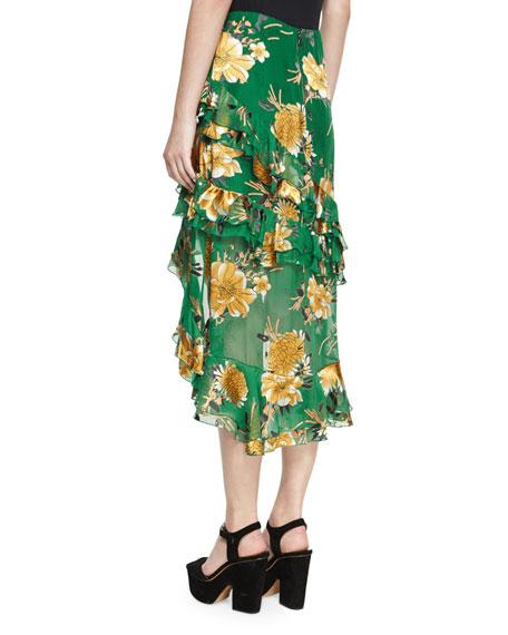 Sasha Asymmetric Tiered Ruffle Skirt, Green Yellow Multi