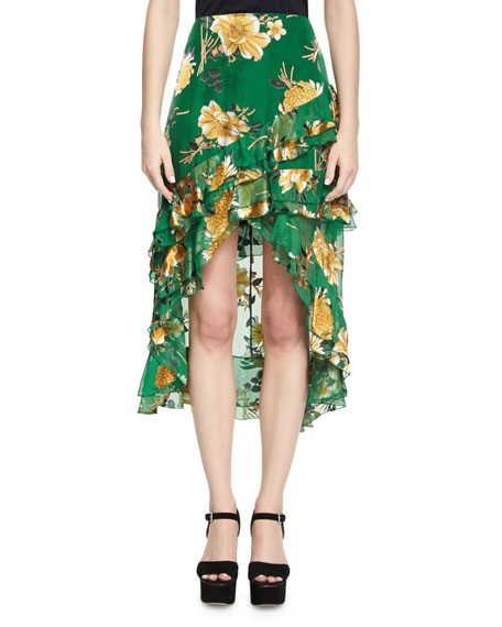 Alice + Olivia Sasha Asymmetric Tiered Ruffle Skirt,