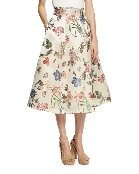 Alice + Olivia Fila High-Waist Midi Bell Skirt,