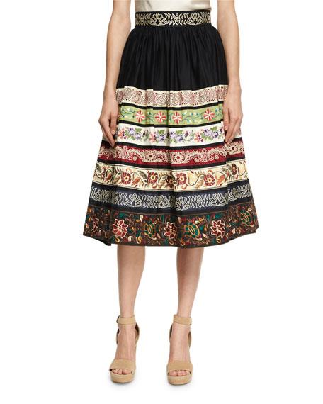 Alice + Olivia Birdie Embroidered Full Midi Skirt,