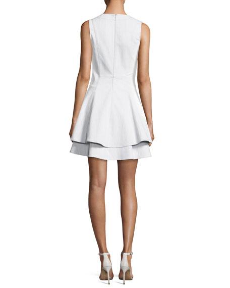 Sleeveless V-Neck Fit Flare Mini Dress, White