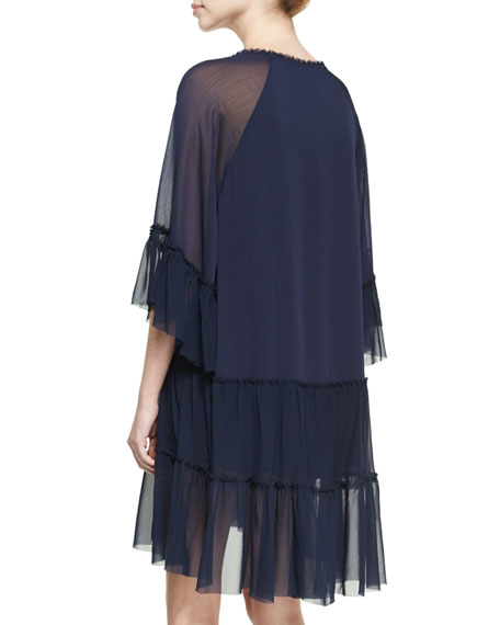 Zoey Tiered V-Neck Tunic Dress, Blue