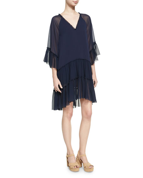 Alice + Olivia Zoey Tiered V-Neck Tunic Dress,