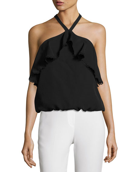 Monet Ruffled Halter Top, Black