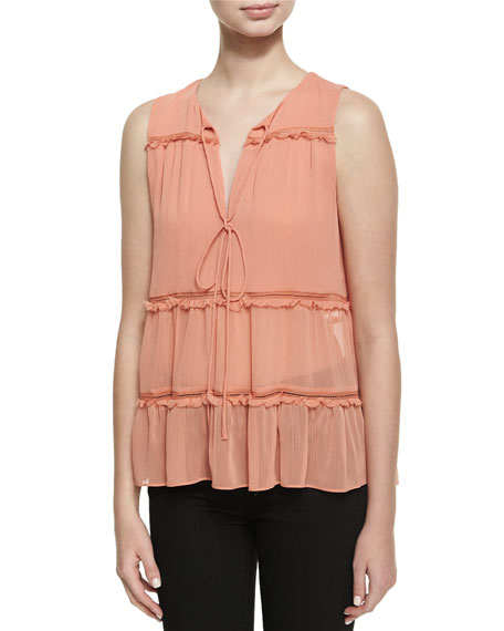Massie Sleeveless V-Neck Boho Blouse, Pink