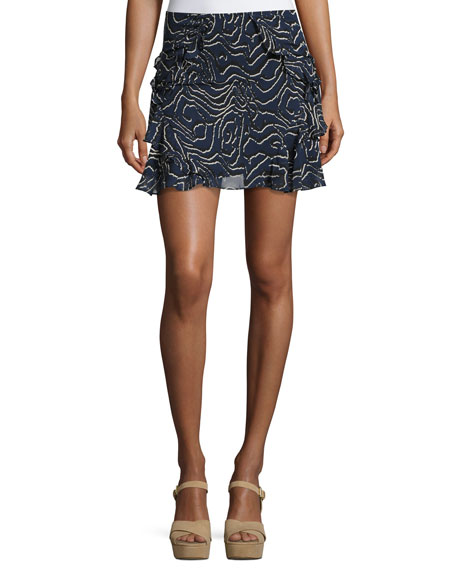Ruffled Silk Mini Skirt, Navy