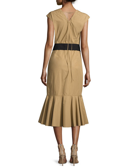 Sleeveless Ruffle Hem Belted Dress, Beige