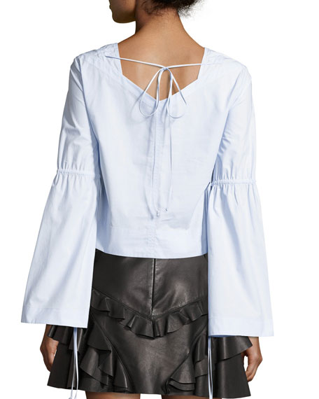 Long-Sleeve Boxy Top W/ Ties, Sky