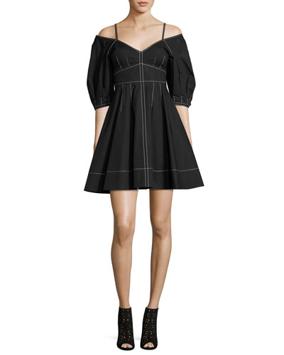 Off-the-Shoulder Cotton Dress, Black
