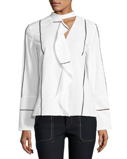 Long-Sleeve Ruffle Front Cotton Shirt, White