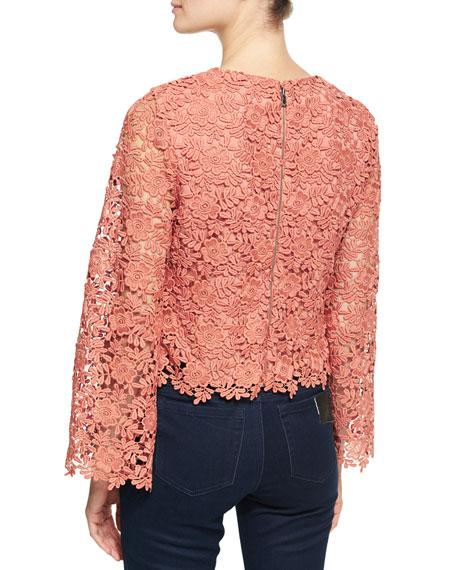 Pasha Long-Sleeve Jewel-Neck Blouse Top, Pink/Orange