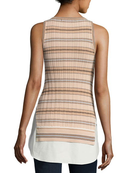 Sheer Striped Combo Tunic Tank, Nude
