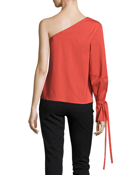 Anka Cotton Voile Top, Red