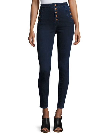 J Brand Natasha Sky High-Waist Skinny Jeans, Blue