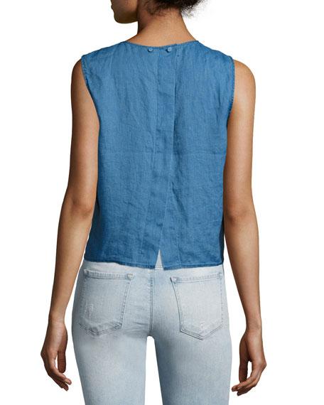 Saia Sleeveless Linen Chambray Top, Blue