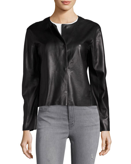 Cecilia Snap-Front Leather Jacket, Black
