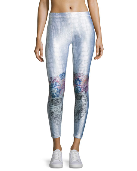Terez Jeweled Flower Crown Skull Performance Leggings, Light