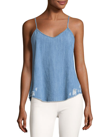 RtA Denim Lilian Chambray Camisole Top W/ Distressing