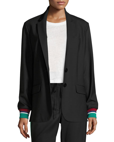 Dempsey Two-Button Suiting Blazer, Black