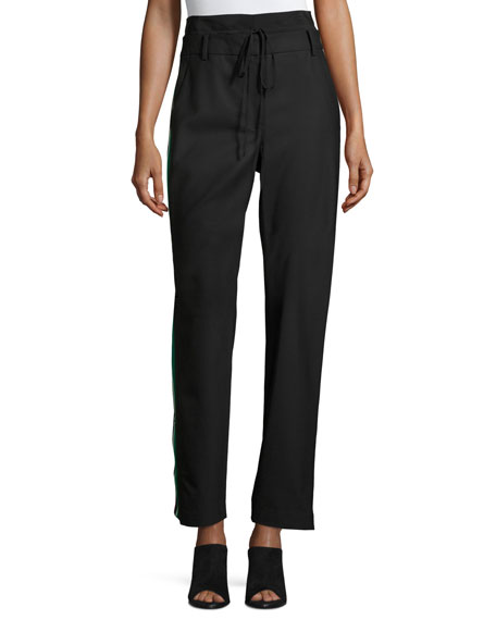 Dempsey Striped-Sides Suiting Pant, Black