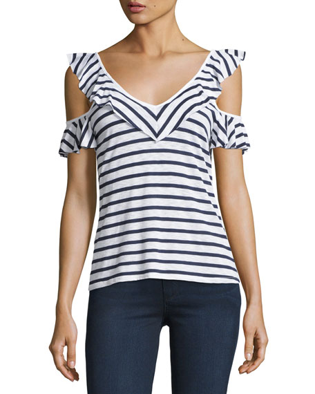 French Striped Cold-Shoulder Ruffled Top, White/Blue Multi
