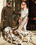 Cheetah Satin Sculpted-Sleeve Ruched Midi Dress, Ivory