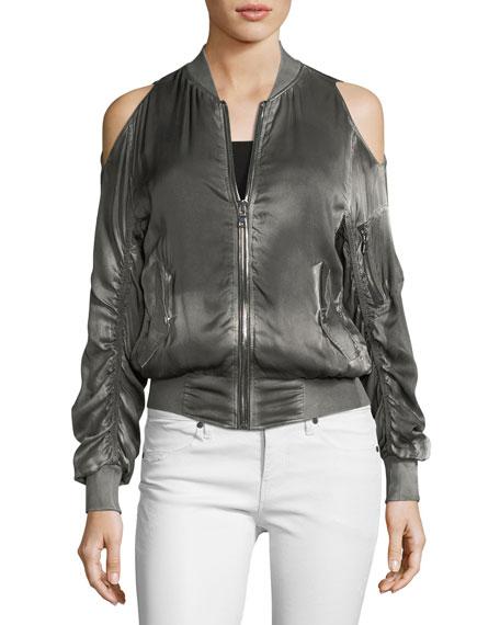 137583d654cabb RtA Jester Cold-Shoulder Silk Bomber Jacket