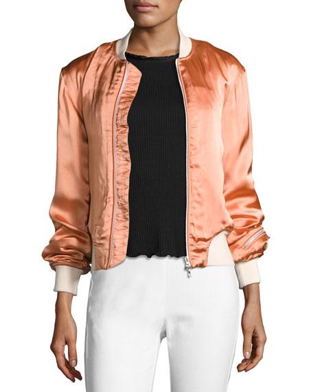 Morton Sateen Bomber Jacket, Pink