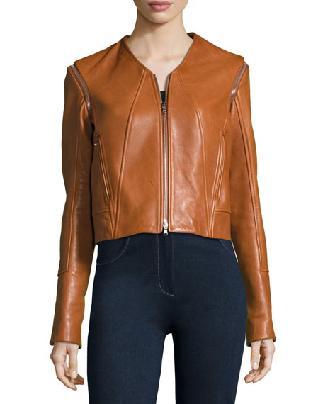 Leather Moto Jacket W/ Removable Sleeves, Beige