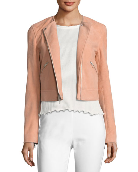 Rag & Bone Hollander Suede Motorcycle Jacket, Pink