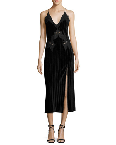 Crinkled Velvet Applique Deep V Midi Dress, Black