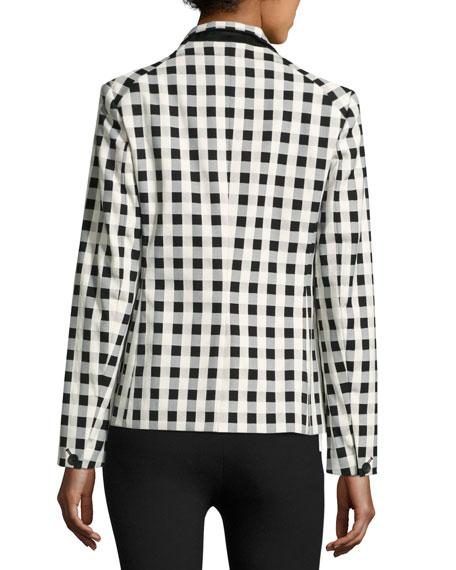 Archer Single-Button Check Blazer, Black/White