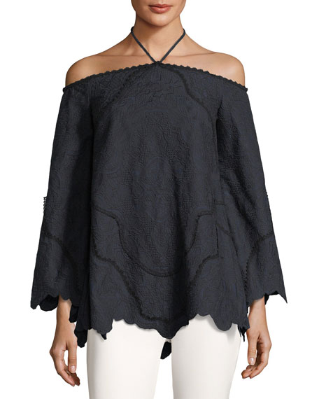 Jonathan Simkhai Embroidered Off-the-Shoulder Long-Sleeve Blouse