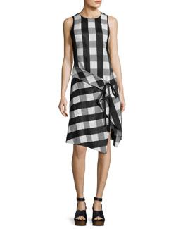 Brighton Plaid Tank Midi Dress, Black/White