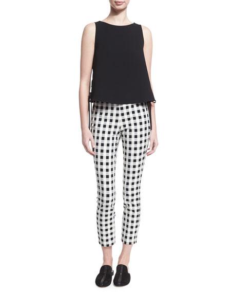Simone High-Rise Checkered-Print Pants, Black/white